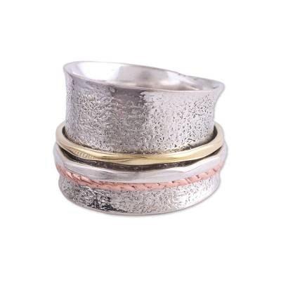Sterling silver meditation spinner ring, 'Stylish Textures' - Sterling Silver India Meditation Ring with Copper and Brass