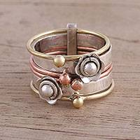 Sterling silver and copper multi-band ring, 'Metallic Flowers' - Sterling Silver Copper and Brass Multi Band Ring