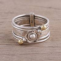 Sterling silver meditation spinner ring, 'Floral Splendor' - Handmade Sterling Silver and Brass Indian Meditation Ring