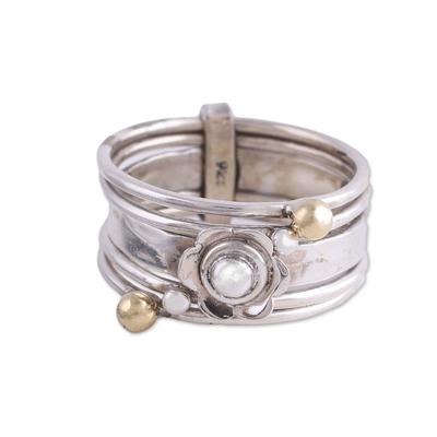 Sterling silver meditation spinner ring, 'Floral Splendor' - Handmade Sterling Silver and Brass Indian Meditation Ring