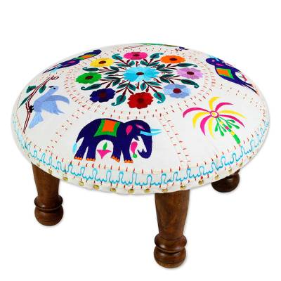 Cotton embroidered foot stool, 'Elephant Garden' - Fair Trade Embroidered Foot Stool from India
