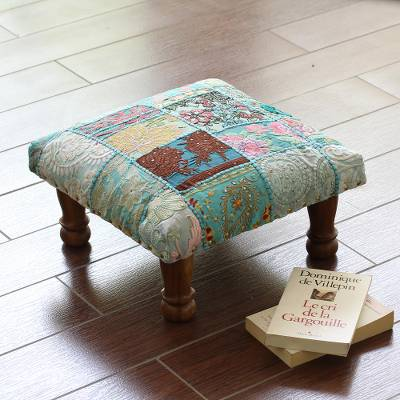Embellished ottoman, 'Rajasthani Patchwork' - Fair Trade Embellished Ottoman Foot Stool from India