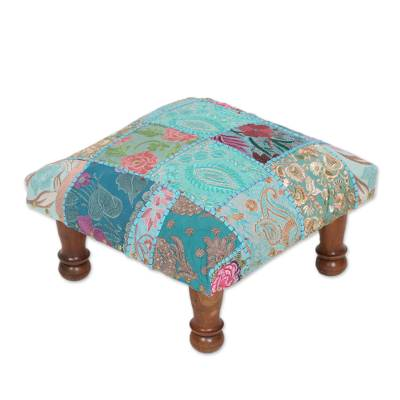 Magnificent Fair Trade Embellished Ottoman Foot Stool From India Rajasthani Patchwork Machost Co Dining Chair Design Ideas Machostcouk
