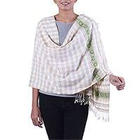 Silk shawl, 'Champagne Checks' - Silk Shawl with Check Motifs in Alabaster from India