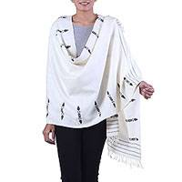 Silk shawl, 'Vanilla Beauty' - Handwoven Fringed Silk Shawl in Vanilla from India