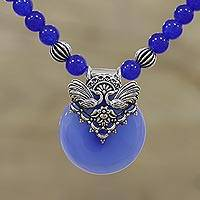 Chalcedony beaded pendant necklace, 'Peaceful Blue' - Blue Chalcedony Beaded Pendant Necklace from India