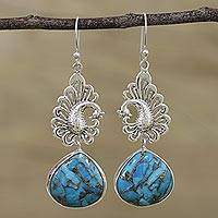 Sterling silver dangle earrings, 'Blue Peacock Majesty' - Sterling Silver Peacock Dangle Earrings from India