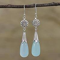 Chalcedony dangle earrings, 'Floral Fruit' - Chalcedony and Silver Floral Dangle Earrings from India