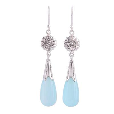 Chalcedony and Silver Floral Dangle Earrings from India