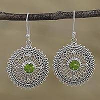 Peridot dangle earrings, 'Green Suns' - Peridot and Sterling Silver Dangle Earrings from India