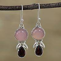 Garnet and chalcedony dangle earrings, 'Radiant Gleam' - Garnet and Pink Chalcedony Dangle Earrings from India