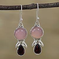 Garnet and chalcedony dangle earrings, 'Radiant Gleam' - Garnet and Pink Chalcedony Dangle Earrings from India