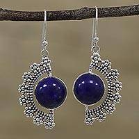 Lapis lazuli dangle earrings, 'Bubbly Half Moons' - Lapis Lazuli Bubbly Dangle Earrings from India