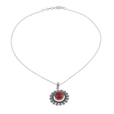 Carnelian and Silver Bubbly Pendant Necklace from India
