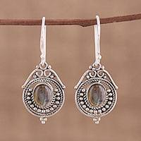 Labradorite dangle earrings, 'Magical Nature' - Labradorite and Sterling Silver Dangle Earrings from India