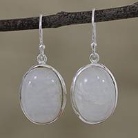 Moonstone dangle earrings, 'Glowing Delight' - Oval Moonstone and Silver Dangle Earrings from India