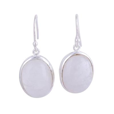 Moonstone dangle earrings, 'Glowing Delight' - Oval Moonstone and Silver Dangle Earrings from India