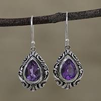 Amethyst dangle earrings, 'Lilac Shimmer' - Teardrop Amethyst Dangle Earrings from India