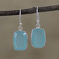 Chalcedony dangle earrings, 'Soft Blue' - Blue Chalcedony and Silver Dangle Earrings from India