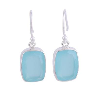 Chalcedony dangle earrings, 'Soft Blue' - Blue Chalcedony and Silver Dangle Earrings from India