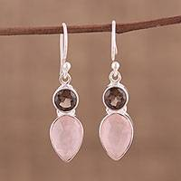 Rose quartz and smoky quartz dangle earrings, 'Dazzling Alliance' - Rose and Smoky Quartz Dangle Earrings from India