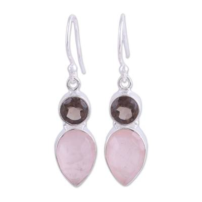 Rose quartz and smoky quartz dangle earrings, 'Dazzling Alliance' - Rose and Smoky Quartz Dangle Earrings from India