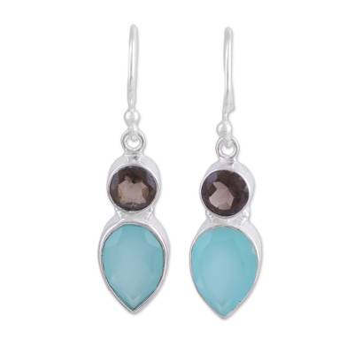Chalcedony and smoky quartz dangle earrings, 'Dazzling Alliance' - Chalcedony and Smoky Quartz Dangle Earrings from India