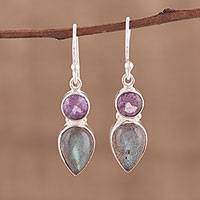 Labradorite and amethyst dangle earrings, 'Dazzling Alliance' - Labradorite and Amethyst Dangle Earrings from India