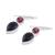 Onyx and garnet dangle earrings, 'Dazzling Alliance' - Handmade Black Onyx and Garnet Dangle Earrings from India (image 2d) thumbail