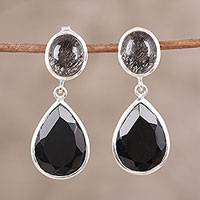 Onyx and tourmalinated quartz dangle earrings, 'Alluring Onyx' - Black Onyx and Tourmalinated Quartz Dangle Earrings