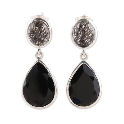 Onyx and tourmalinated quartz dangle earrings, 'Alluring Onyx' - Black Onyx and Tourmalinated Quartz Dangle Earrings
