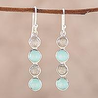 Labradorite and chalcedony dangle earrings, 'Trendy Orbs'