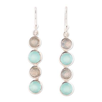 Labradorite and chalcedony dangle earrings, 'Trendy Orbs' - Aqua Chalcedony and Labradorite Handcrafted Earrings