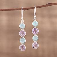 Amethyst and chalcedony dangle earrings, 'Trendy Orbs' - Handcrafted Amethyst and Blue Chalcedony Earrings from India