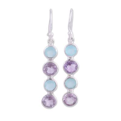 Handcrafted Amethyst and Blue Chalcedony Earrings from India