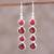 Ruby and garnet dangle earrings, 'Trendy Orbs' - Ruby and Garnet Sterling Silver Dangle Earrings from India (image 2) thumbail
