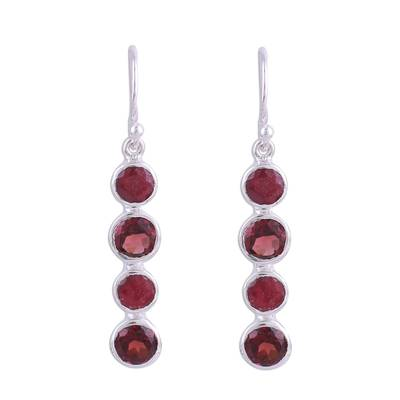 Ruby and garnet dangle earrings, 'Trendy Orbs' - Ruby and Garnet Sterling Silver Dangle Earrings from India