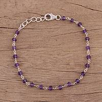 Amethyst link bracelet, 'Beautiful Saga' - Handmade Adjustable Amethyst Link Bracelet from India