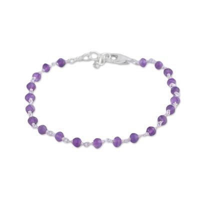 Amethyst link bracelet, 'Beautiful Saga' - Handmade Adjustable Amethyst Link Bracelet from India