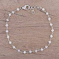 Rainbow moonstone link bracelet, 'Beautiful Saga' - Handmade Rainbow Moonstone Link Bracelet from India