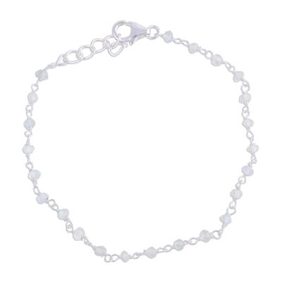 Rainbow moonstone link bracelet, 'Beautiful Saga' - Handmade Rainbow Moonstone Link Bracelet from India