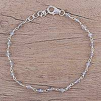 Labradorite link bracelet, 'Beautiful Saga' - Handmade Adjustable Labradorite Link Bracelet from India