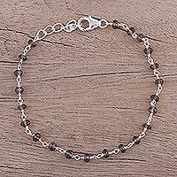 Smoky quartz link bracelet, 'Beautiful Saga' - Handmade Adjustable Smoky Quartz Link Bracelet from India