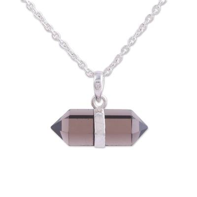 Smoky quartz pendant necklace, 'Entrancing Crystal' - Adjustable Smoky Quartz Crystal Pendant Necklace from India