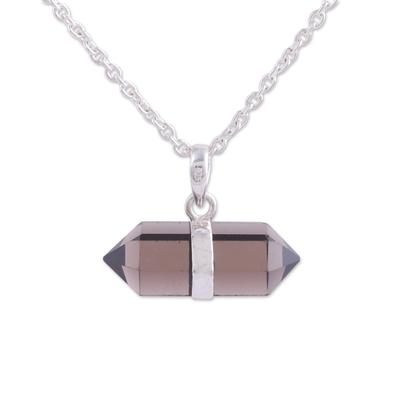 Smoky quartz pendant necklace, 'Entrancing Crystal' - Adjustable Smoky Quartz Crystal Pendant Necklace from India