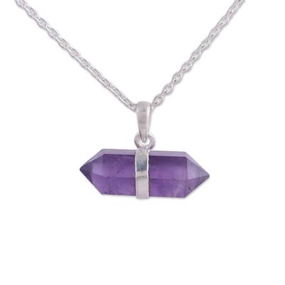 Amethyst pendant necklace, 'Entrancing Crystal' - Adjustable Amethyst Crystal Pendant Necklace from India