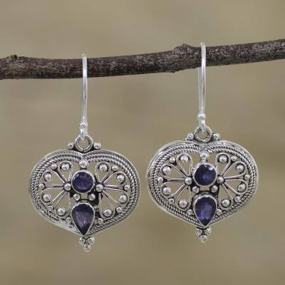 Iolite dangle earrings, 'Idyllic Love' - Natural Iolite and Silver Dangle Earrings from India