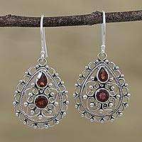 Garnet dangle earrings, 'Majestic Jali' - Natural Garnet and Silver Jali Dangle Earrings from India