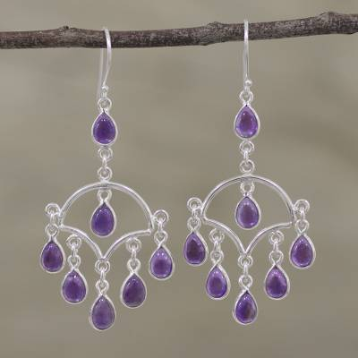 Amethyst chandelier earrings, 'Majestic Raindrops' - Amethyst and Sterling Silver Chandelier Earrings from India