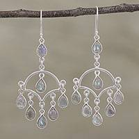 Labradorite chandelier earrings, 'Majestic Raindrops' - Labradorite and Silver Chandelier Earrings from India
